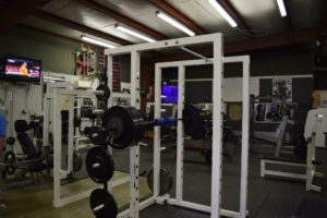 Gym weight lifting equipment at Matthew's Gym in Forest City, NC