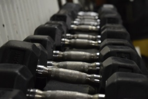 Dumbbells at Matthew's Gym in Forest City, NC
